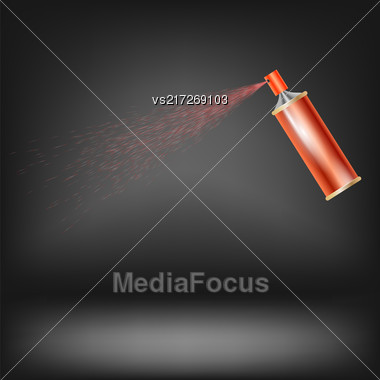 Red Spray Isolated On Grey Blurred Background Stock Photo