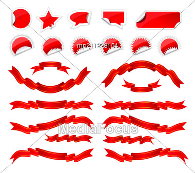 Red Stickers And Ribbons Set Stock Photo