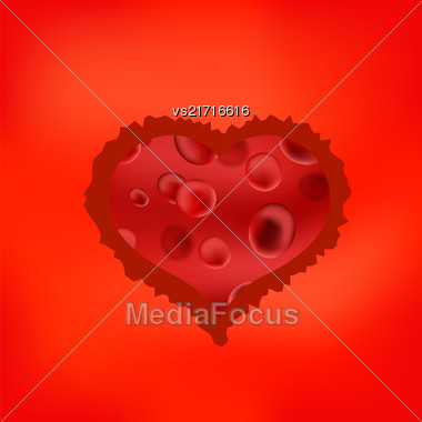 Red Stilized Heart Isolated On Soft Red Background. Symbol Of Heart. Original Heart Icon Stock Photo