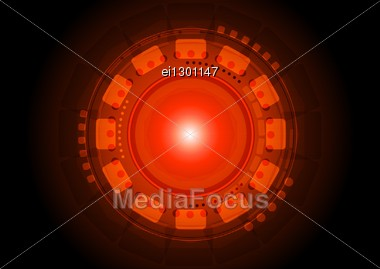 Red Technical Background With Circles And Squares Stock Photo