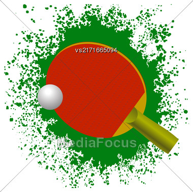Red Tennis Racket And Plastic Ball On Green Splatter Background Stock Photo