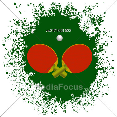 Red Tennis Rackets And Plastic Ball On Green Splatter Background Stock Photo