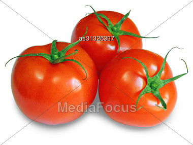 Red Tomatoes Isolated On A White Background Stock Photo