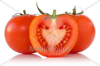 Red Tomatoes With Reflection Stock Photo