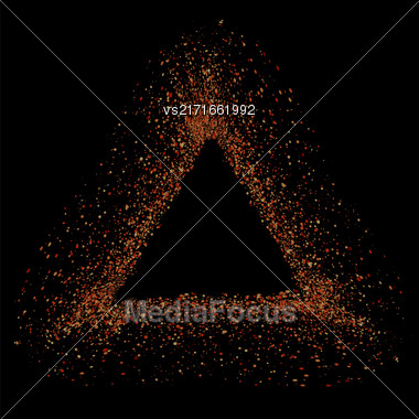 Red Triangle Frame Isolated On Black Background Stock Photo