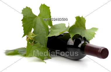 Red Wine Bottle Isolated On White Background Stock Photo