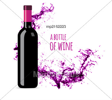 Red Wine Splash With Bottle. Vector Illsustration On White Background Stock Photo