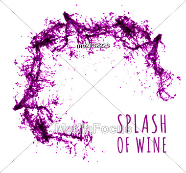 Red Wine Splash. Vector Illsustration On White Background Stock Photo