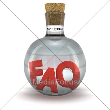 Red Word FAQ In The Bottle With Transparent Liquid Stock Photo