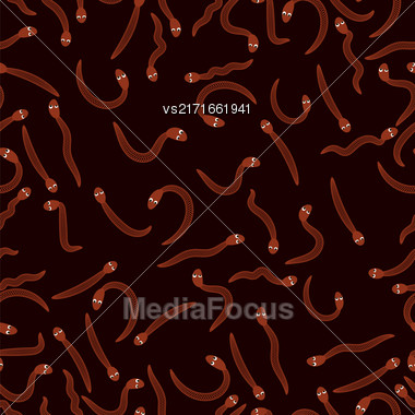 Red Worms For Fishing Seamless Pattern On Black. Animal Bloodworms Background Stock Photo