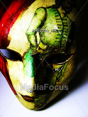 Red & Yellow Decorative Mask Stock Photo