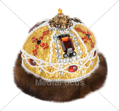 Regal Kings Fur Crown Stock Photo