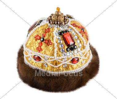 Regal Kings Fur Crown Stock Photo