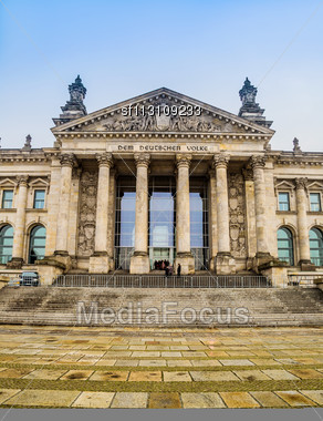 Reichstag Building In Berlin, Germany On Christmas Stock Photo