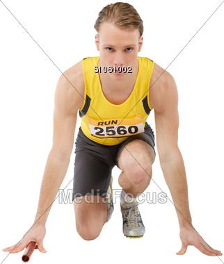 Relay Runner Ready Stock Photo