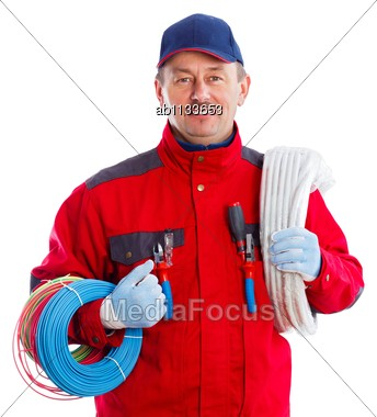 Reliable Electrician With Colorful Wire Bundles And Flexible Tube Stock Photo