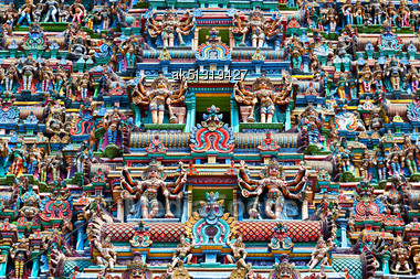 Relief Of Menakshi Temple, Madurai, Tamil Nadu, India Stock Photo