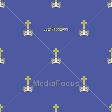 Religion Icons Isolated On Blue Background. Seamless Pattern Stock Photo