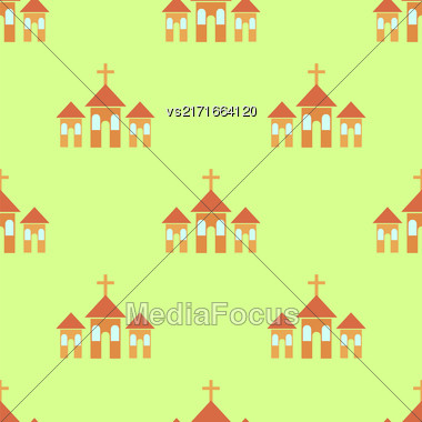 Religion Icons Isolated On Green Background. Seamless Pattern Stock Photo