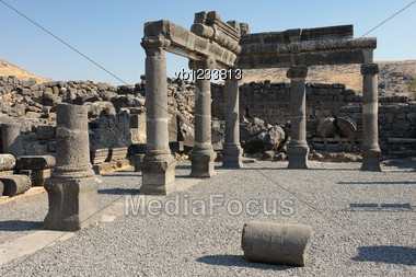 Remains Of Ancient Buildings In The Korazim National Park, Israel. Stock Photo