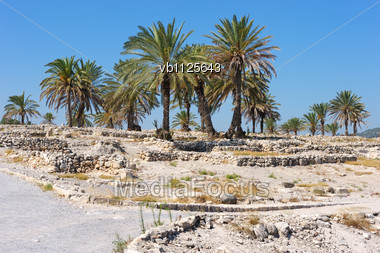Remains Of Settlements On The Hill Megiddo (early Bronze Age), Mentioned In The Bible Stock Photo