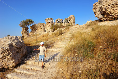 Remnants Of Fortifications That Were Built By The Crusaders In Ashqelon, Israel Stock Photo