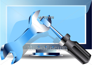 Repairing Computers. Monitor And Metal Service Tool Stock Photo