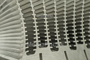 Repeated Abstract Patterns Of An Electronic Heat Sink Stock Photo