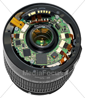 Replacement Lens In Polurazobrannom Condition. Isolated On White Background Stock Photo