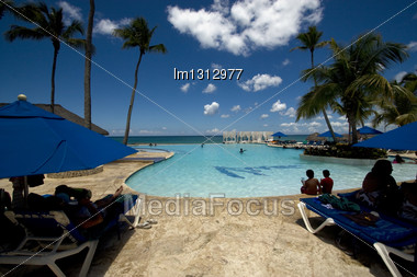 Republica Dominicana Pool Tree Palm Peace Marble And Relax Near The Caribbean Beach Stock Photo