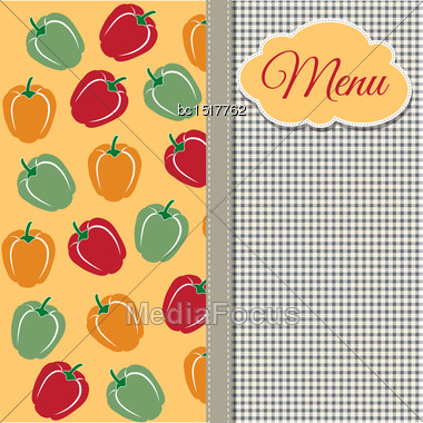 Restaurant Menu Design With Sweet Peppers, Vector Format Stock Photo