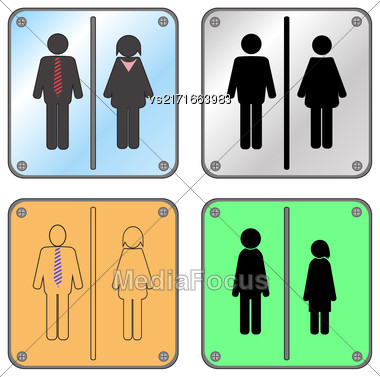 Restroom Sign With Man And Woman Isolated On White Background Stock Photo