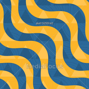 Retro 3D Blue And Yellow Waves With Overplayed Triangles .Abstract Layered Pattern. Bright Colored Background With Realistic Shadow And Thee Dimentional Effect Stock Photo