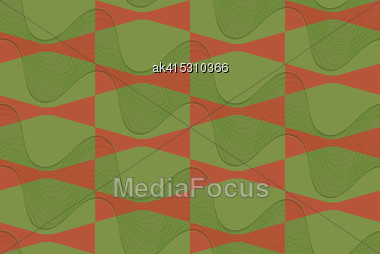 Retro 3D Brown And Green Wavy.Abstract Layered Pattern. Bright Colored Background With Realistic Shadow And Thee Dimensional Effect Stock Photo
