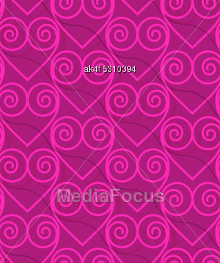 Retro 3D Deep Pink Swirly Hearts.Abstract Layered Pattern. Bright Colored Background With Realistic Shadow And Thee Dimensional Effect Stock Photo