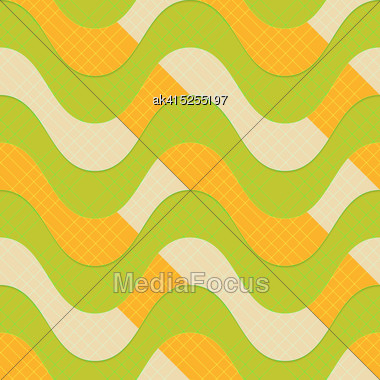 Retro 3D Green Waves With Orange Stripes.Abstract Layered Pattern. Bright Colored Background With Realistic Shadow And Thee Dimentional Effect Stock Photo