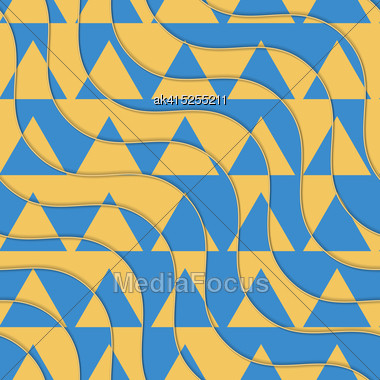 Retro 3D Yellow And Blue Waves With Cut Out Triangles.Abstract Layered Pattern. Bright Colored Background With Realistic Shadow And Thee Dimentional Effect Stock Photo