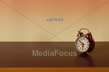 Retro Alarm Clock And Background Is Blank Place For Inscription Stock Photo