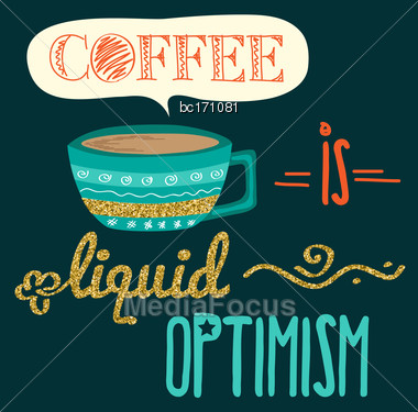 Retro Background With Coffee Quote And Golden Glitterig Details, Vector Format Stock Photo