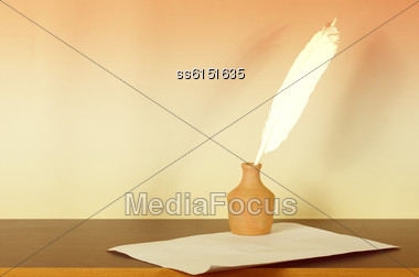 Retro Background Is With Ink, Pen, Paper And An Empty Space For Text Stock Photo