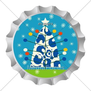 Retro Bottle Cap With Christmas Tree Ans Snowflakes Stock Photo