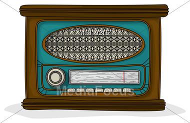 Retro Cartoon Radio Drawing Over White Background Stock Photo