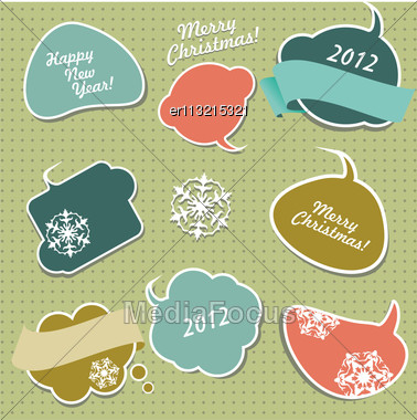 Retro Christmas Stickers In Form Of Speech Bubbles Stock Photo