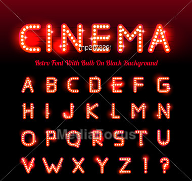 Retro Cinema Font. Vector Illustration On Black Background. Can Be Used For Christmas, Happy New Year, Happy Birthday And More Stock Photo