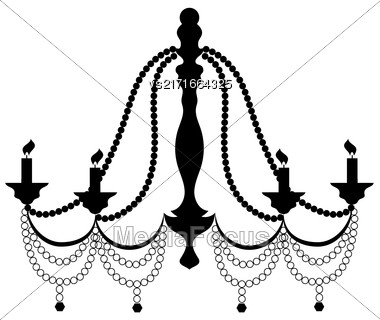 Retro Cryctal Chandelier With Candles Silhouette Isolated On White Background Stock Photo