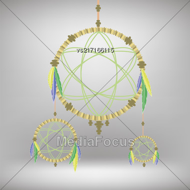 Retro Dream Catcher Isolated On Blurred Gray Background Stock Photo
