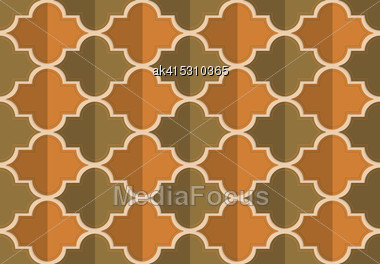 Retro Fold Brownish Marrakesh.Abstract Geometrical Ornament. Pattern With Effect Of Folded Paper With Realistic Shadow. Vintage Colored Simple Shapes On Textured Background Stock Photo
