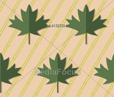 Retro Fold Deep Green Maple Leaves On Diagonal Dots.Abstract Geometrical Ornament. Pattern With Effect Of Folded Paper With Realistic Shadow. Vintage Colored Simple Shapes On Textured Background Stock Photo