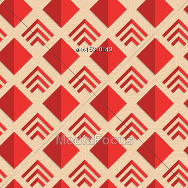 Retro Fold Red Diamonds And Stripes.Abstract Geometrical Ornament. Pattern With Effect Of Folded Paper With Realistic Shadow. Vintage Colored Simple Shapes On Textured Background Stock Photo