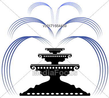 Retro Fountain Silhouette Icon Isolated On White Background Stock Photo